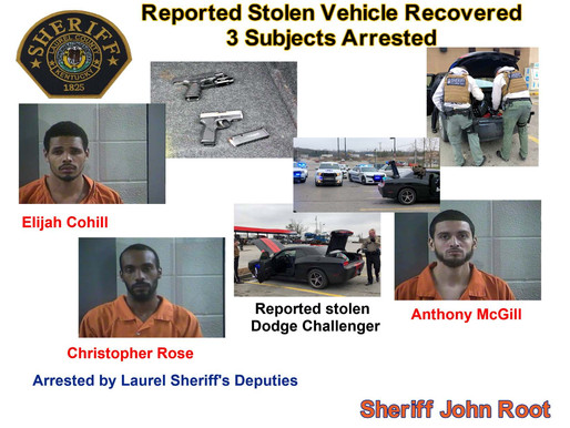 3 with stolen car arrested by sheriff's deputies
