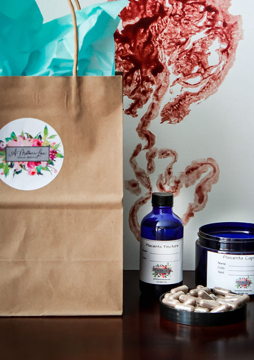 Placenta capsules, placenta tincture and placenta print ready to be deliered to client