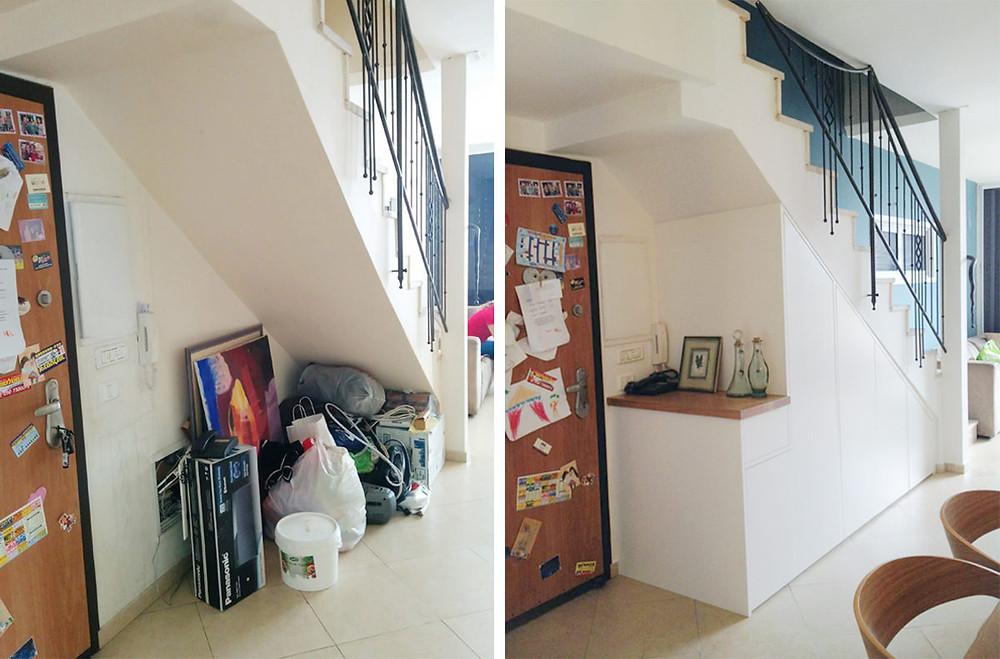 אחסון בכניסה לבית - לפני ואחרי תכנון נגרות