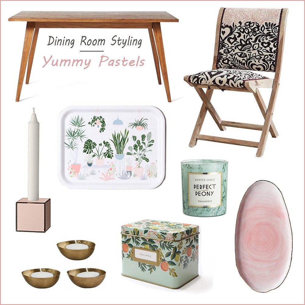 Dining room styling - yummy pastels