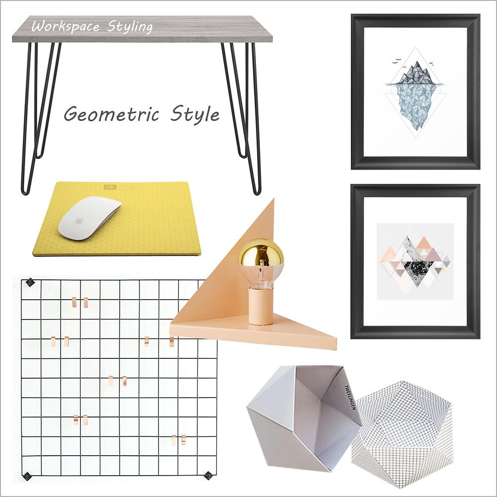 עיצוב חדר עבודה בסגנון גיאומטרי