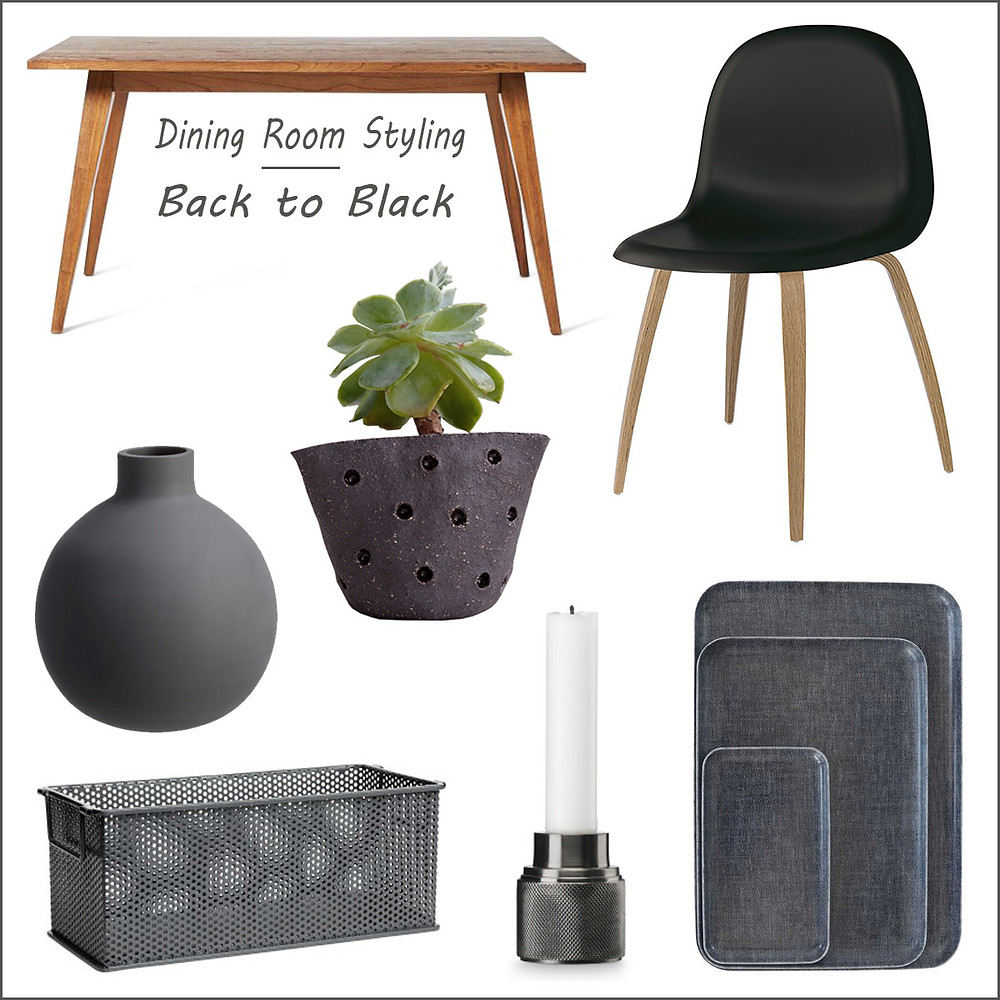 Dining room styling - back to black