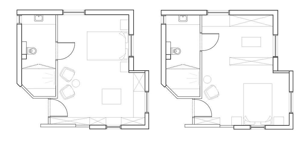 הסקיצות לתכנון המחודש של החדר