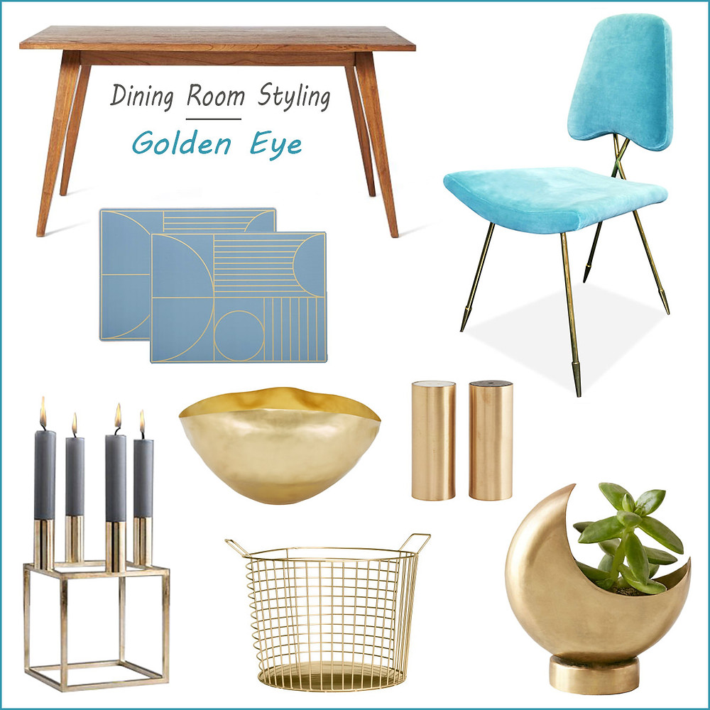 Dining room styling - golden eye