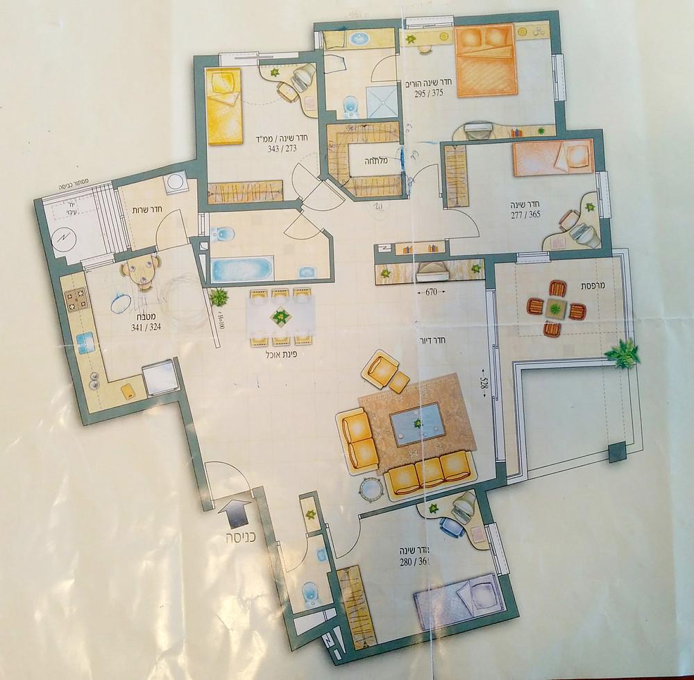תכנית הדירה לפני השיפוץ