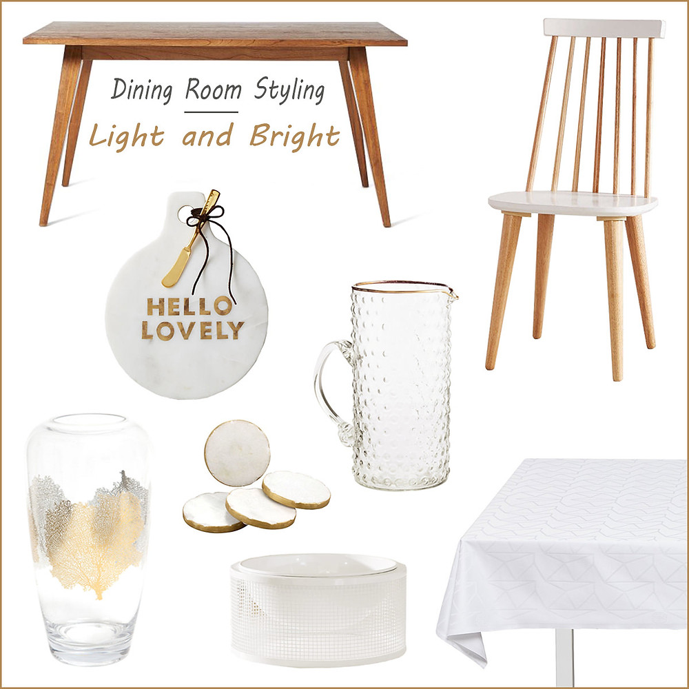 Dining room styling - light and bright