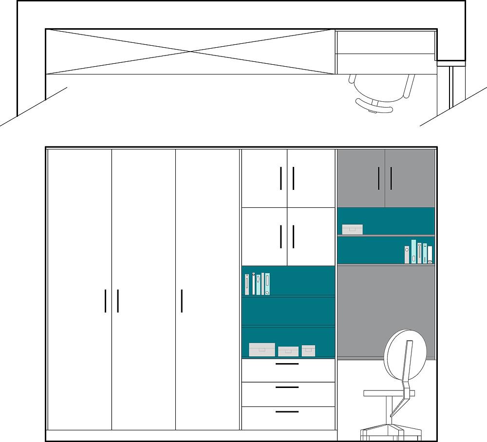תכנית וחזית לארון קיר בחדר השינה