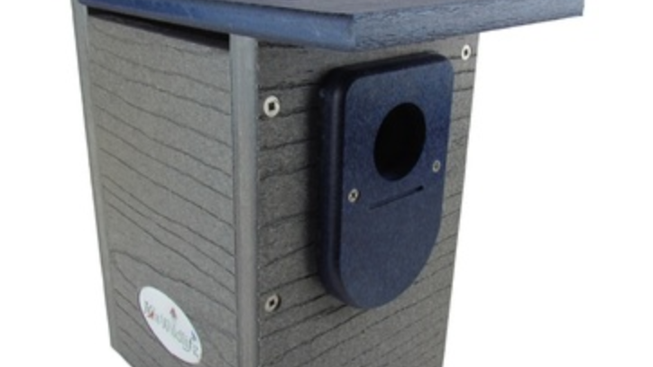JCs Wildlife Recycled Poly Lumber Gray and Blue Standard Bluebird House