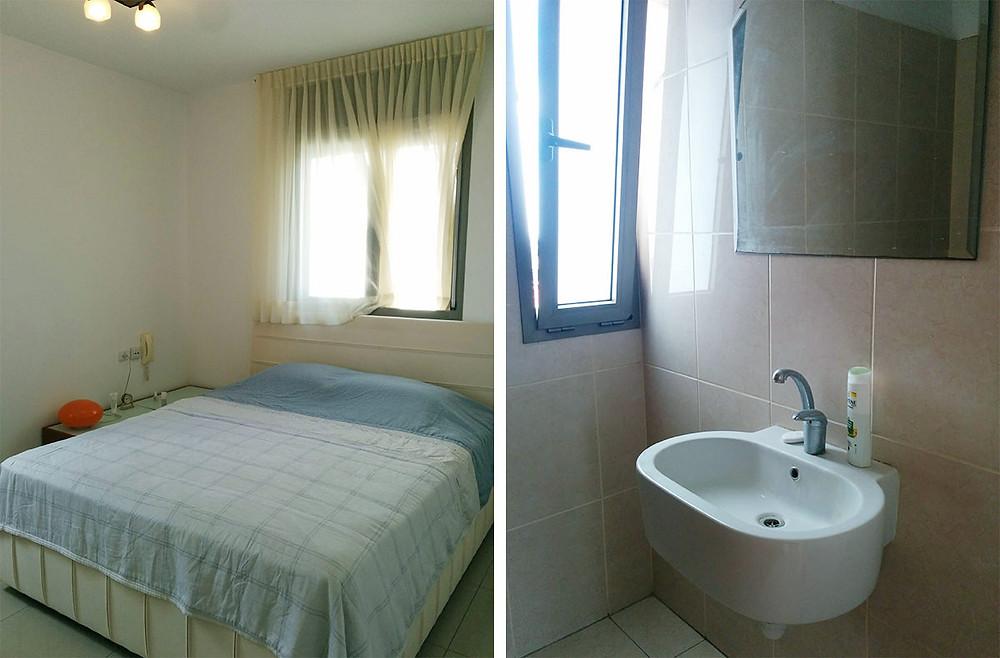 חדר השינה וחדר הרחצה לפני השיפוץ