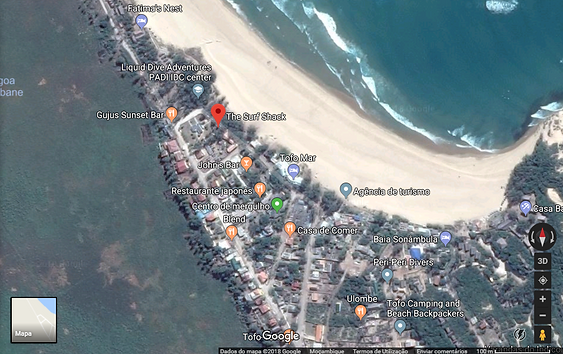 Map that shows location of the Surf Shack Tofo