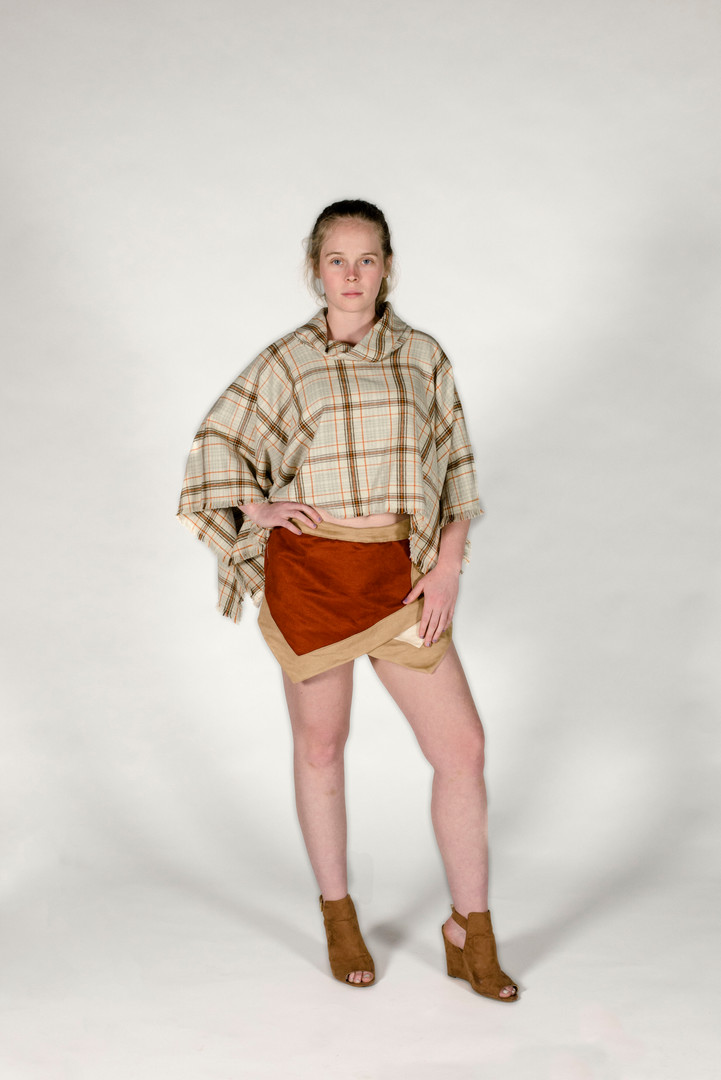 Suede Skort and Plaid Pancho