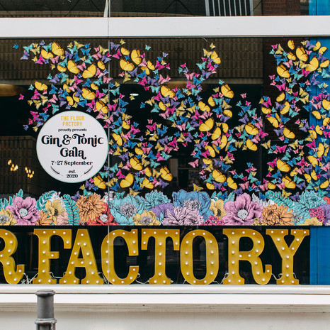 The Flour Factory Gin Gala Window Installation