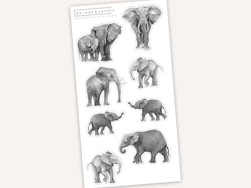 Éléphants || 8 autocollants