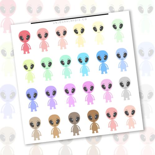Aliens pastel    24 autocollants   #55