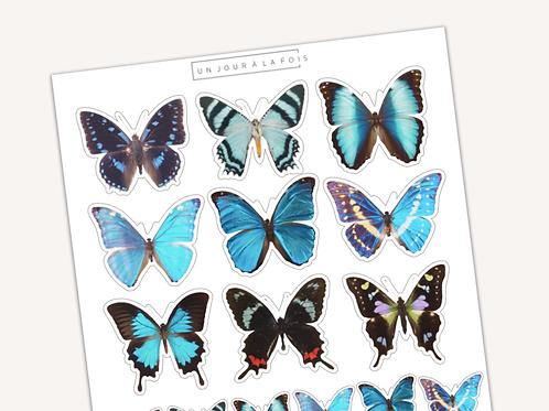 Papillons bleus || 15 autocollants | #24