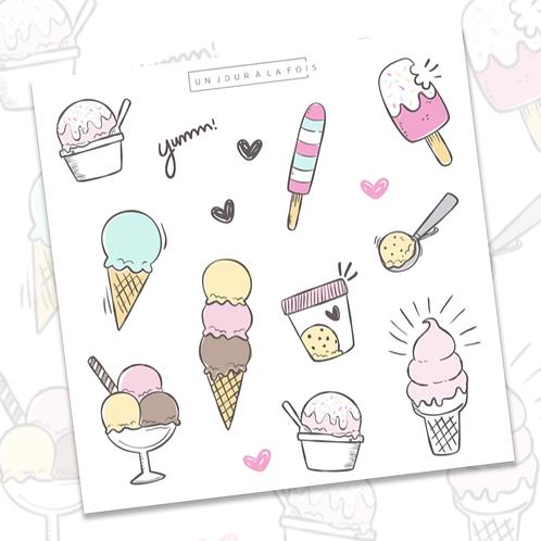 Crème glacée || 15 autocollants