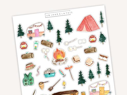 Camping || 40 autocollants