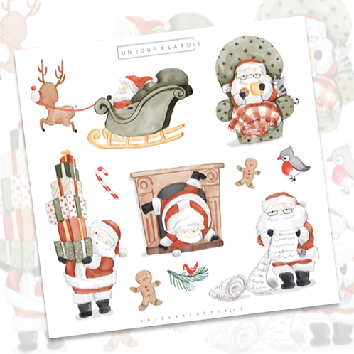 Père Noël || 9 autocollants