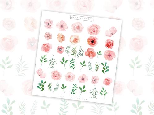 Fleurs || 40 autocollants | #37