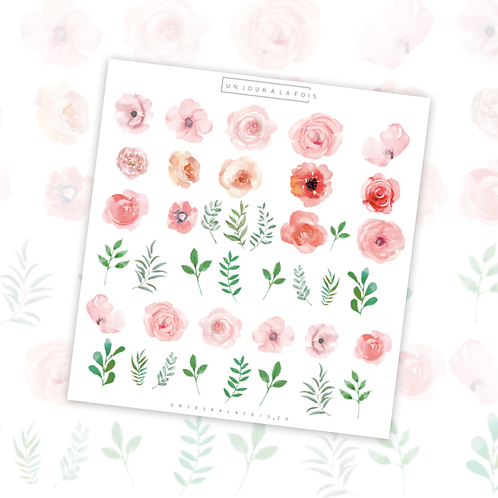 Fleurs || 40 autocollants | #42