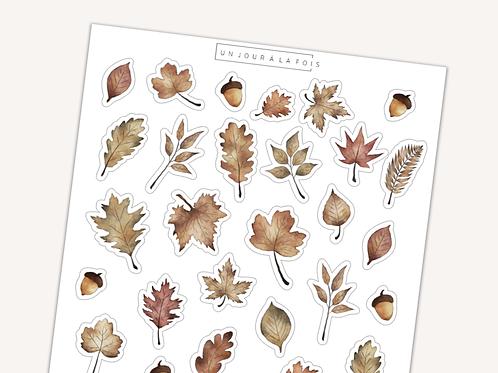 Feuilles d'automne || 28 autocollants | #63