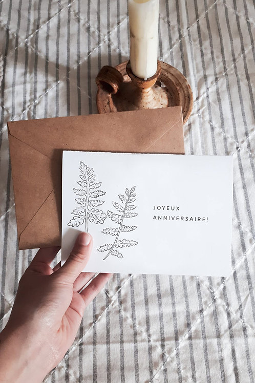 Carte anniversaire minimaliste fougères