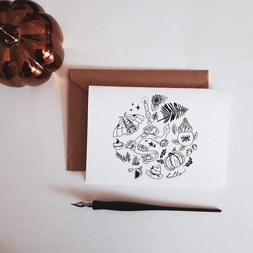 Carte de voeux illustrations florales magiques