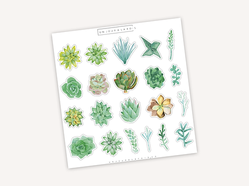 Cactus Aquarelle    21 autocollants