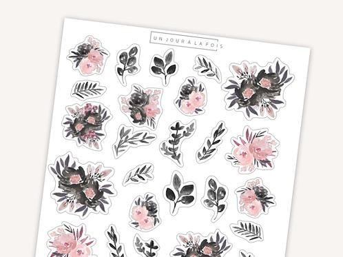 Fleurs aquarelle || 24 autocollants | #23