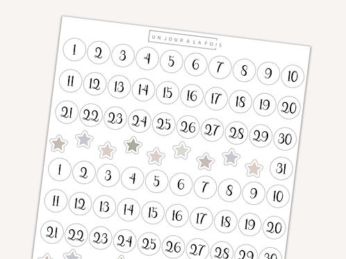 Dates rondes || 80 autocollants | #20