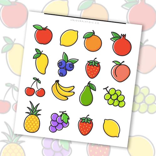 Fruits    16 autocollants   #108