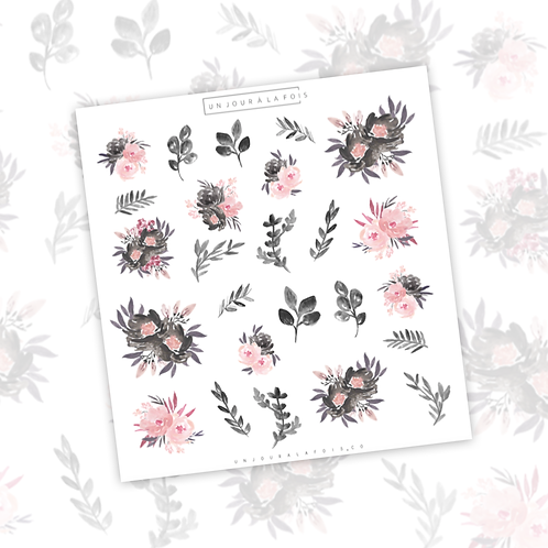 Petites fleurs aquarelle || 24 autocollants | #45