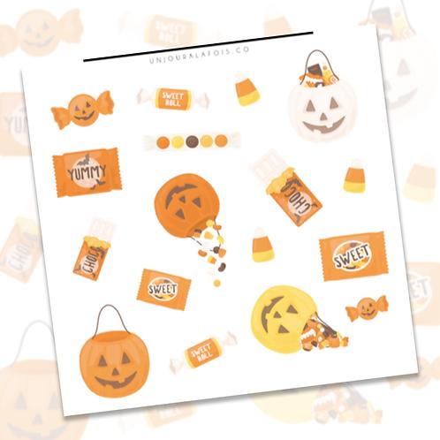 Bonbons d'Halloween    16 autocollants   #104