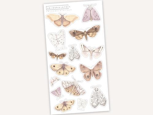Papillons de nuit || 15 autocollants