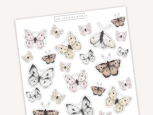 Papillons pastels || 23 autocollants | #32