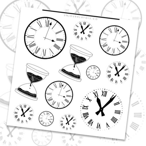 Horloges || 12 autocollants | #86