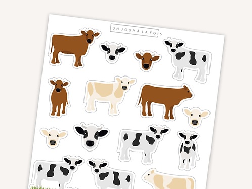 Vaches || 15 autocollants