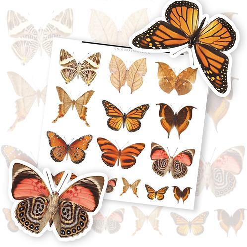 Papillons || 15 autocollants | #66