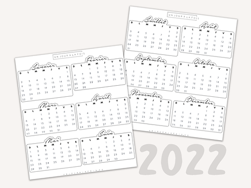 Calendrier 2022 || 12 autocollants