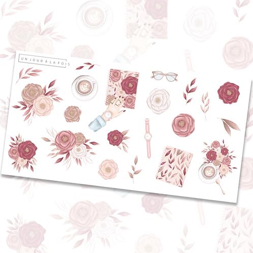 Fleurs romantiques || 21 autocollants