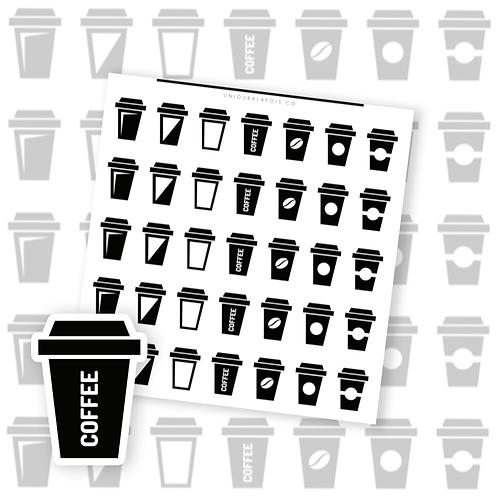 Café || 35 autocollants | #111