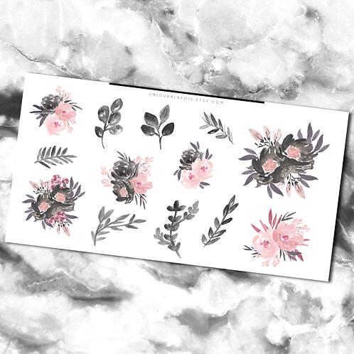 Fleurs aquarelle || 13 autocollants