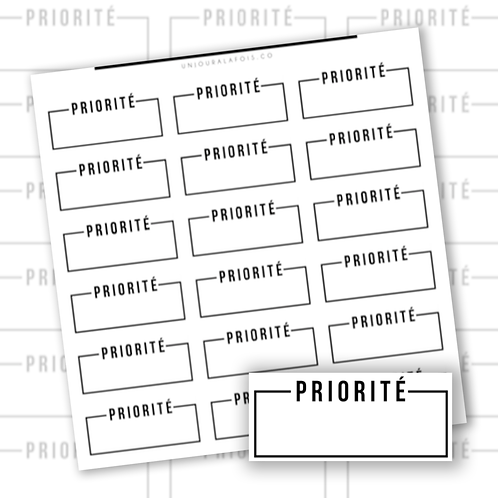 Priorité encadré || 18 autocollants || #19
