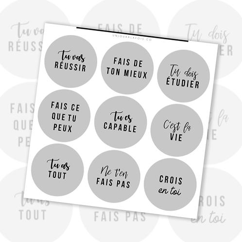 Pastilles encouragements || 9 autocollants