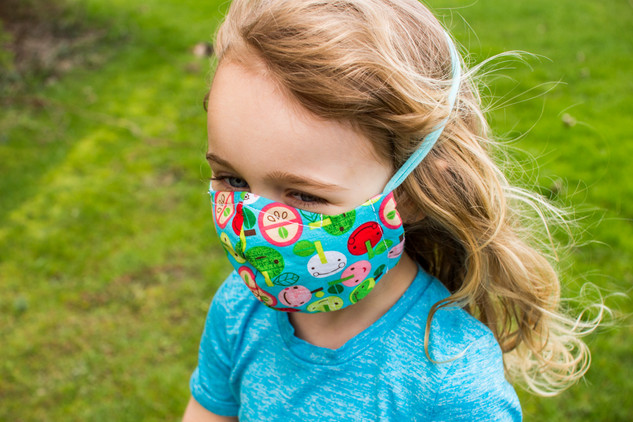 child's fitted mask with wrap ties