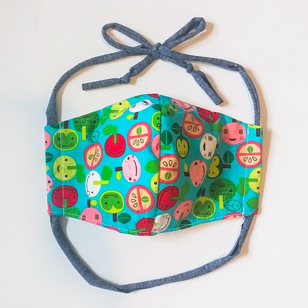 child's fitted masks with wrap ties