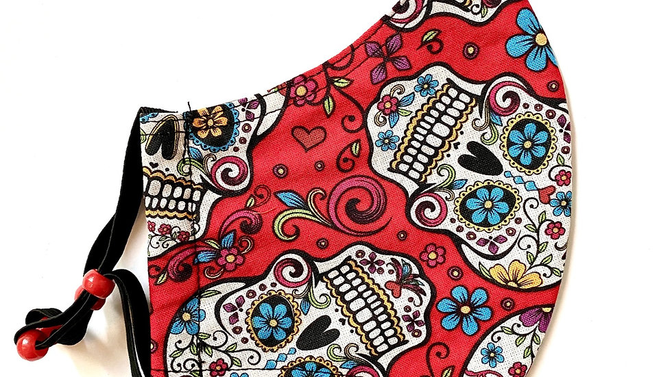 Red Sugar Skull Mask by Alfreda