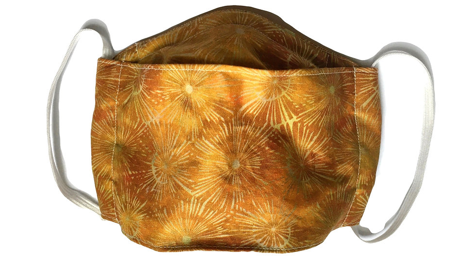 Origami Box Mask in gold sunburst batik, By Amanda