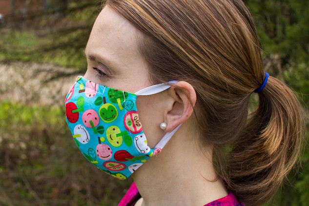 fitted mask with fold over elastic loops and nose wire