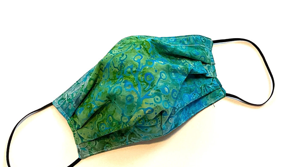 Reversible Pleated Mask by Fran in Blue Green Batik